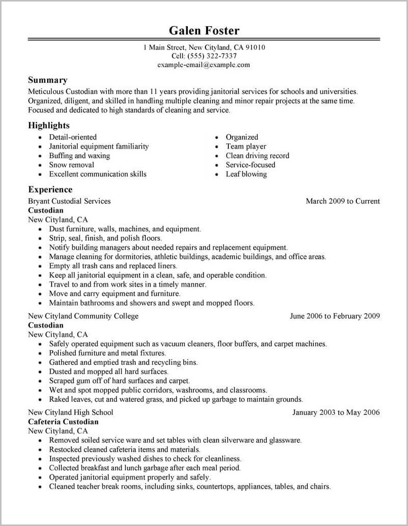 Free Sample Resume For Cleaning Service