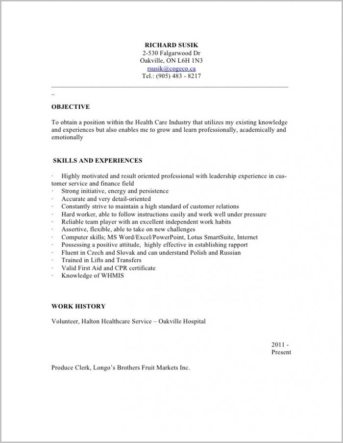 Free Sample Resume For Personal Support Worker