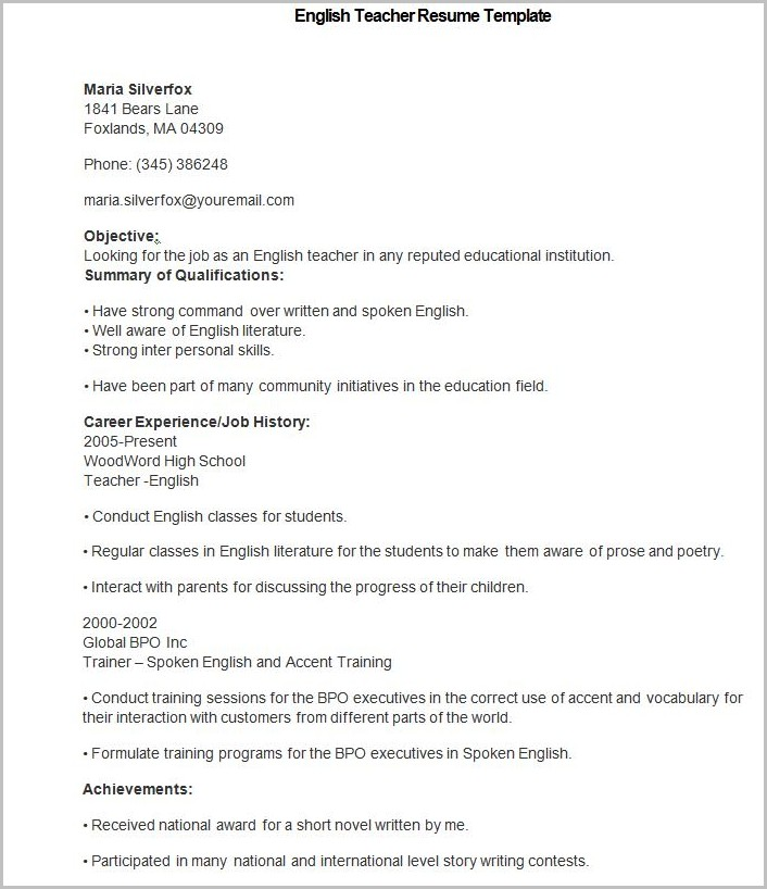 Free Teacher Resume Templates Download