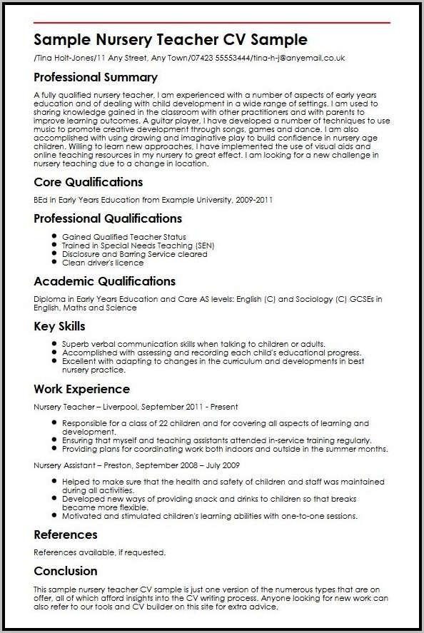 Free Teacher Resume Templates Microsoft Word
