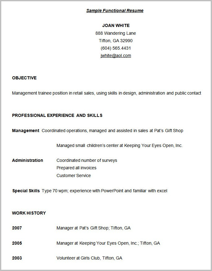 Free Template Of A Functional Resume