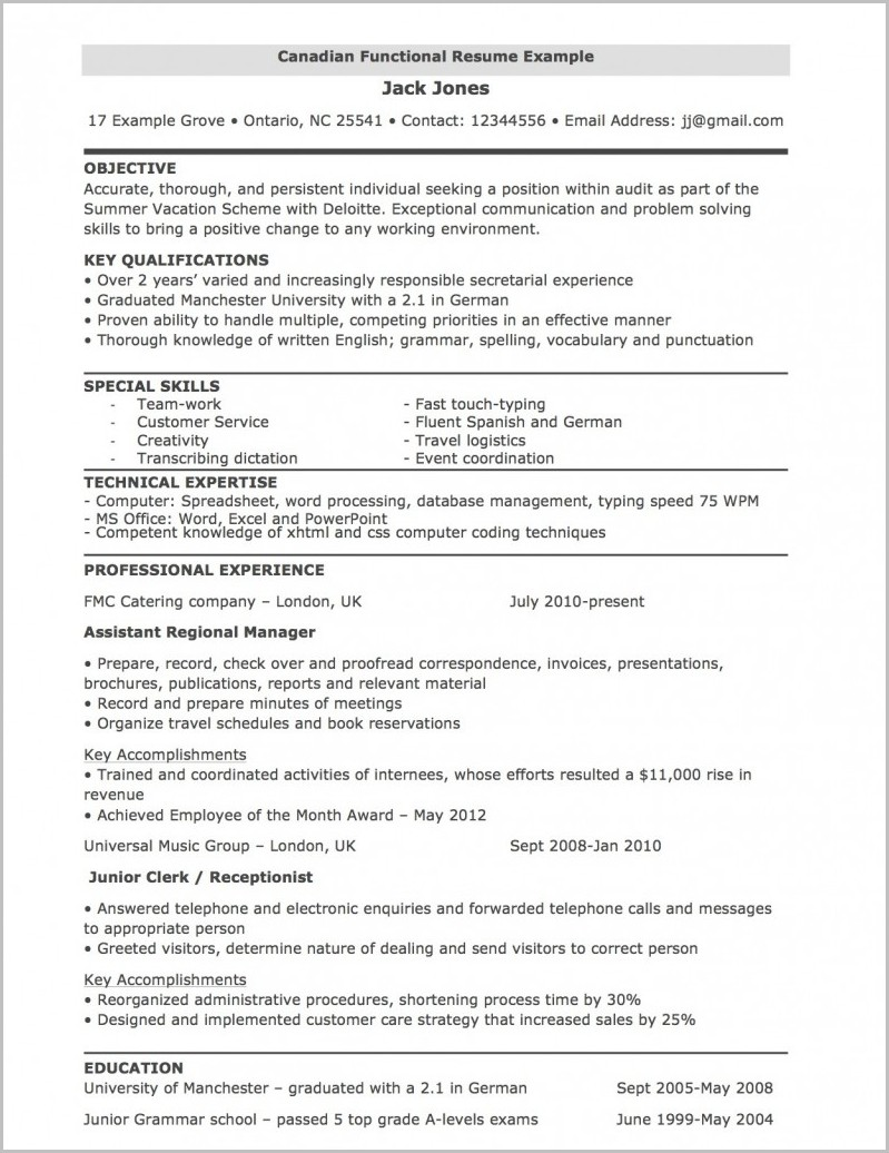 Functional Resume Template For Mac