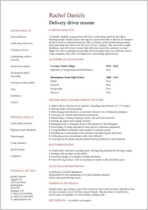 How To Write Resume For Driving Job
