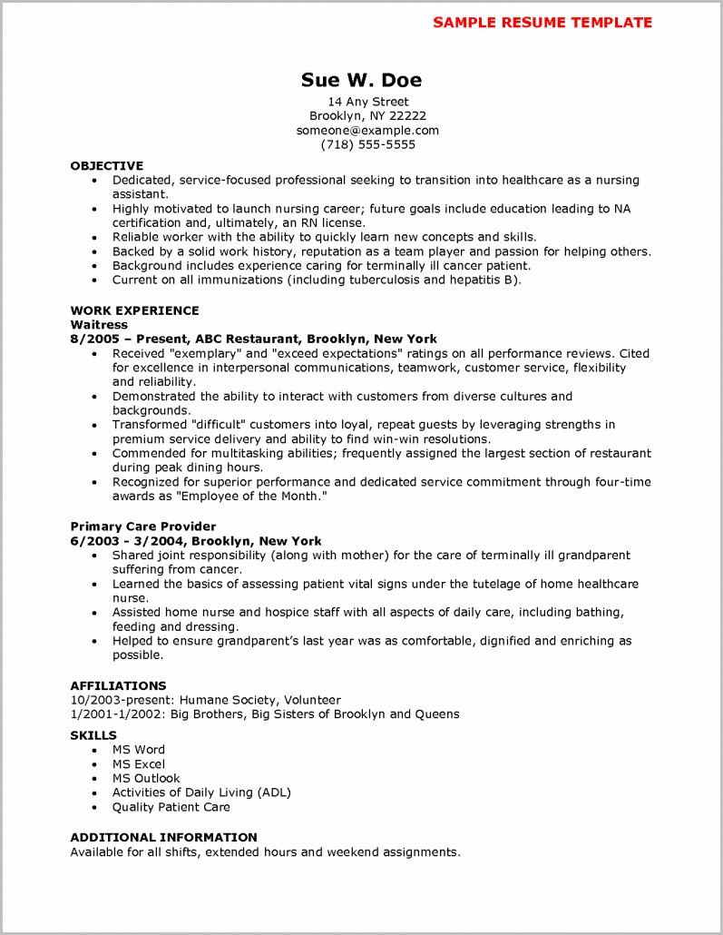 Objective In Resume For Nursing Assistant