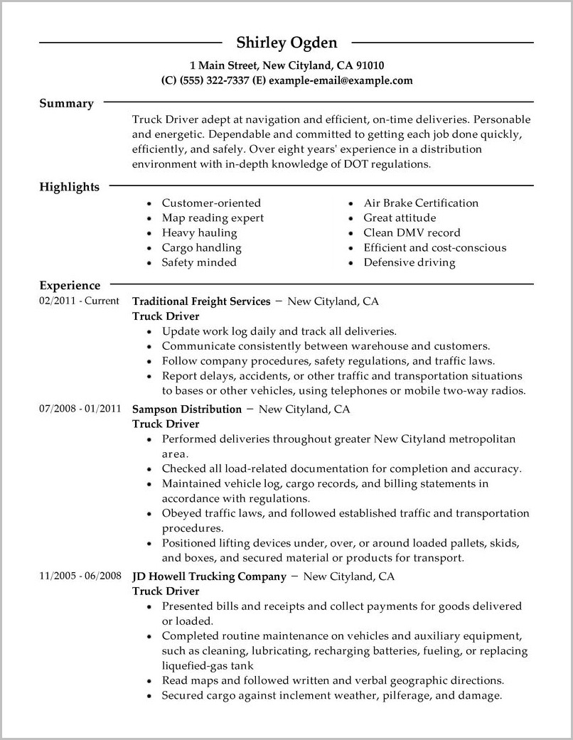 Resume For A Truck Driving Job