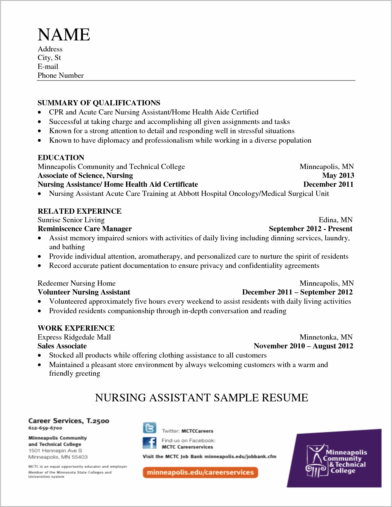 Resume For Nursing Assistant Student