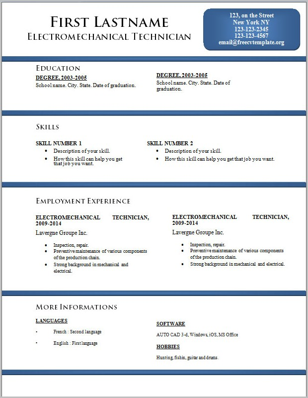 Resume Template In Word For Mac 2008