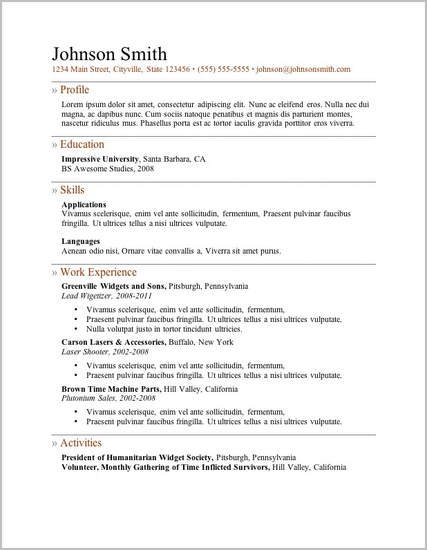 Resume Templates Compatible With Mac
