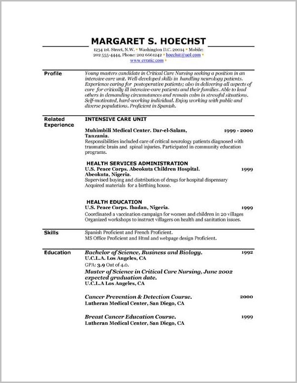 Resume Templates For Free Printable