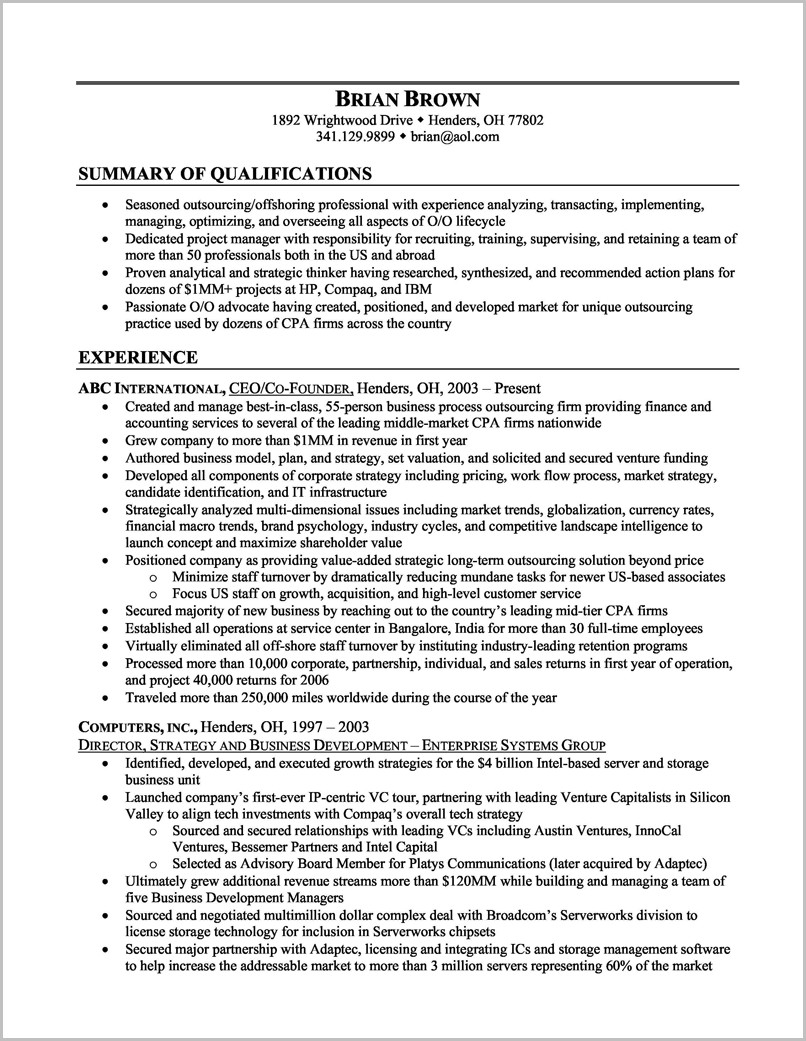 Sample Of A Professional Business Resume