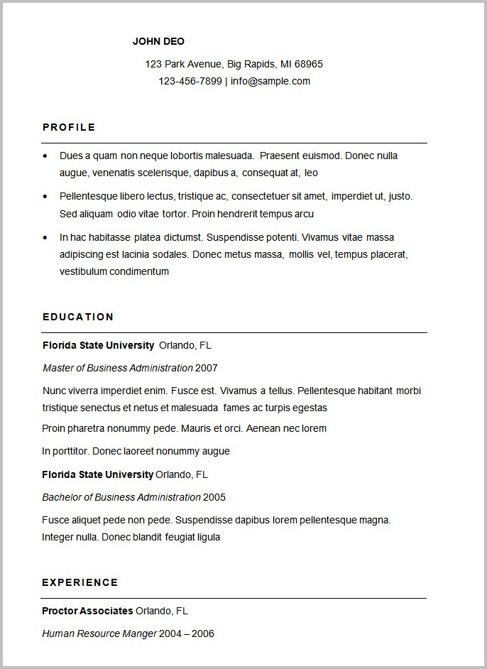 Sample Of A Simple Resume Format