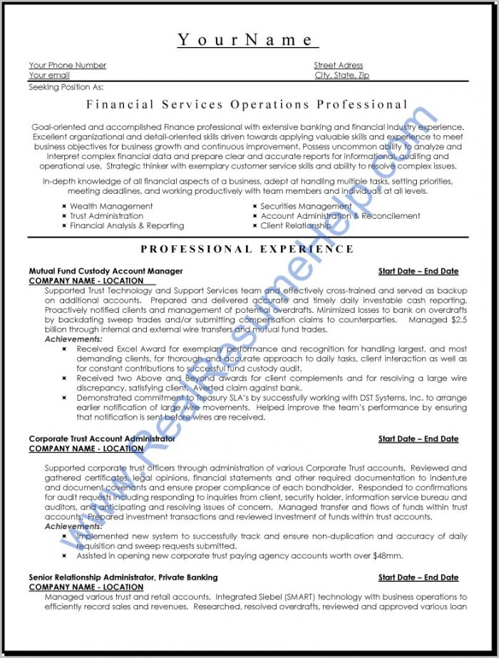 Sample Of Professional Finance Resume
