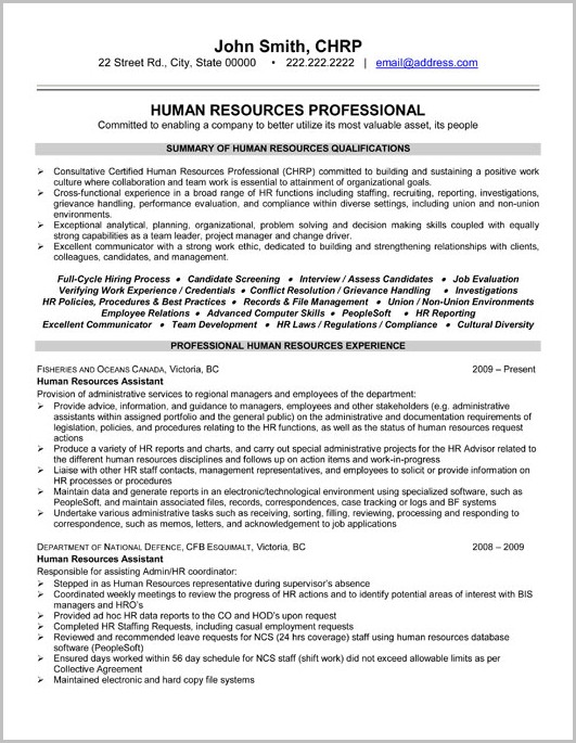 Sample Of Professional Hr Resume