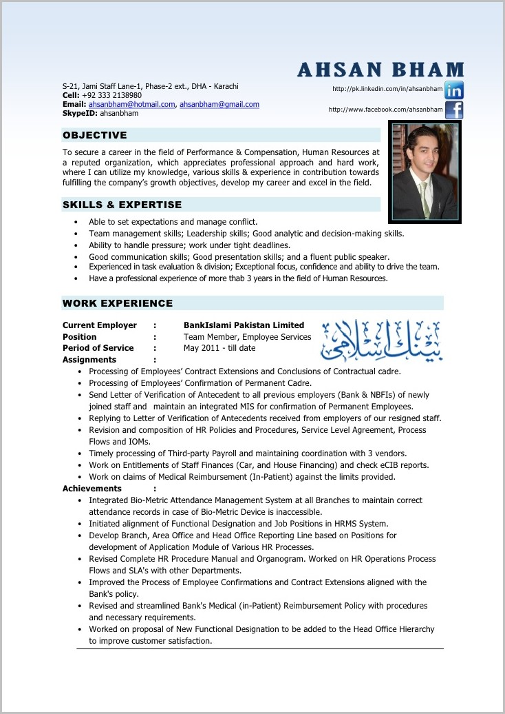 Sample Of Professional Human Resources Resume