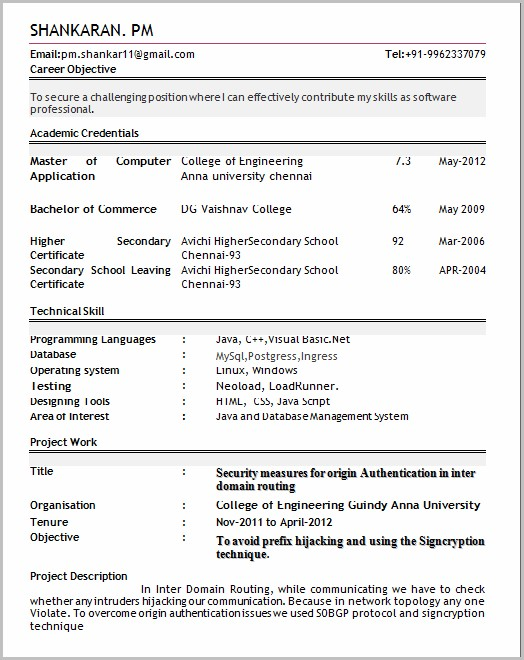 Sample Of Professional Resume For Fresher
