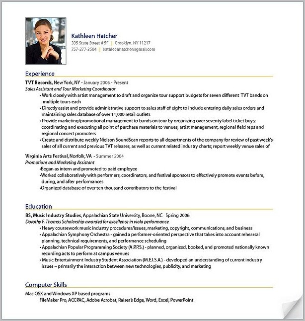 Sample Of Professional Resume Format
