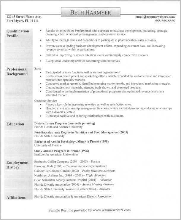 Sample Of Professional Sales Resume