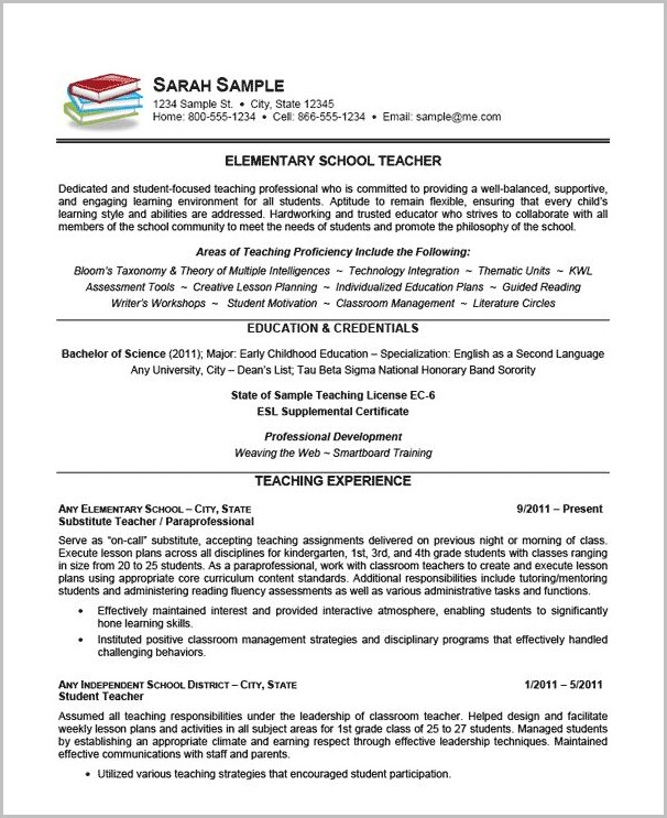Sample Of Professional Teaching Resume