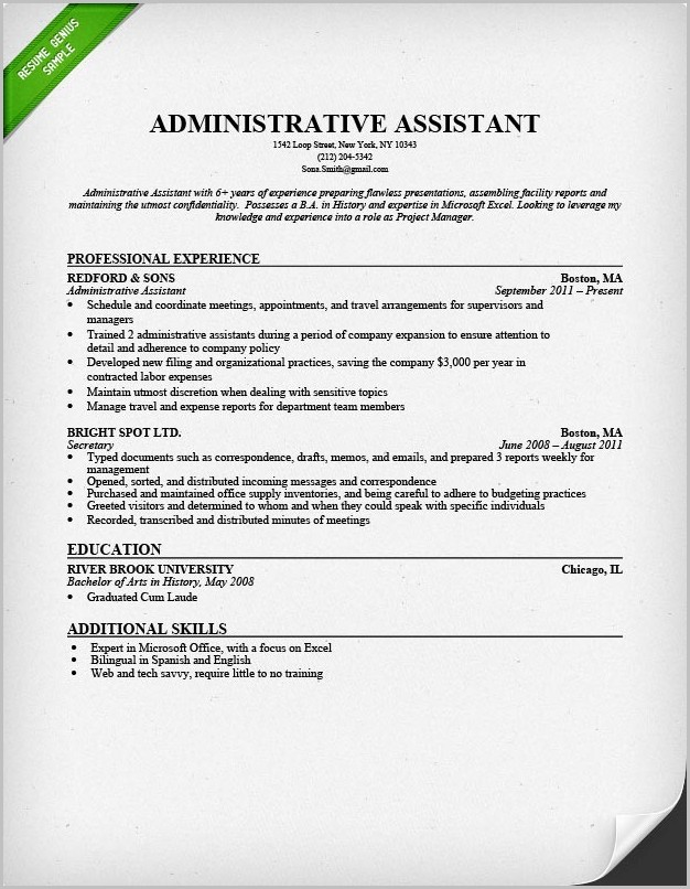 Sample Professional Resume Administrative Assistant