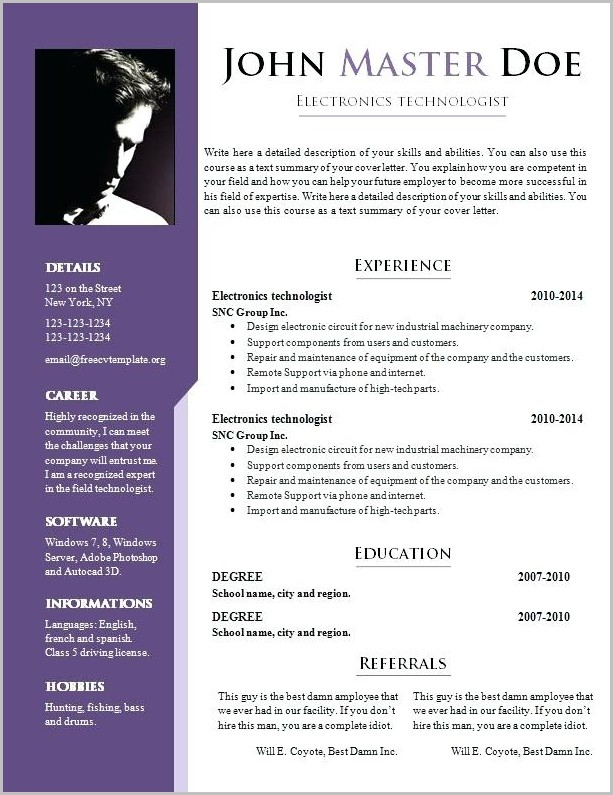 Sample Professional Resume Doc