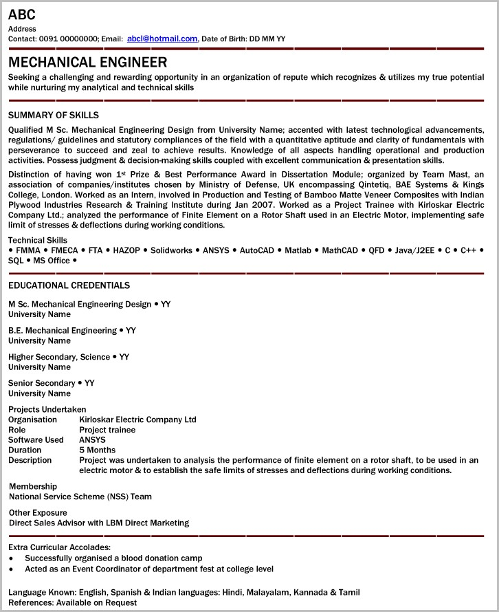 Sample Professional Resume For Mechanical Engineer