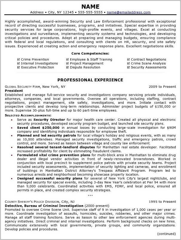 Sample Professional Resume Law