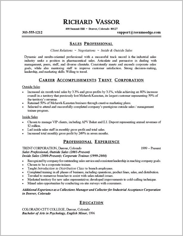 Sample Resume Professional Statements