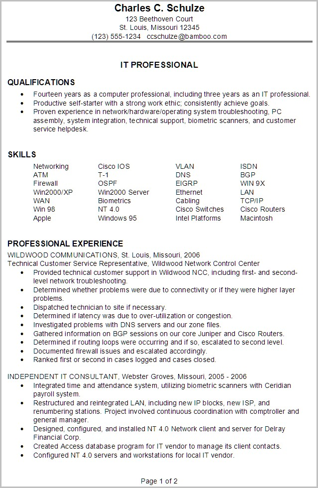 Samples Of It Professional Resumes