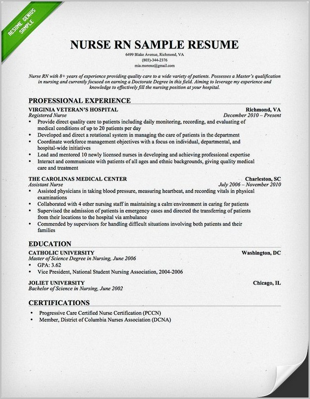 Samples Of Professional Nursing Resumes