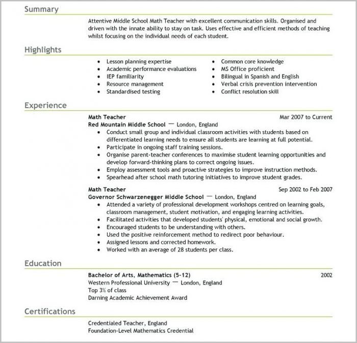 Teacher Resume Template For Mac