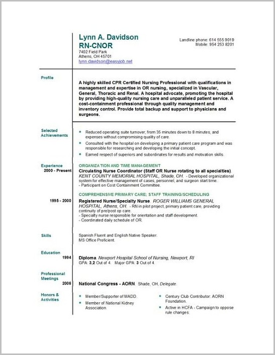 Cv Template For Newly Qualified Nurses