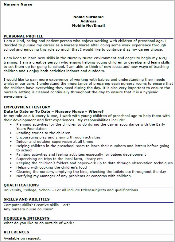 Cv Template For Nursery Nurse
