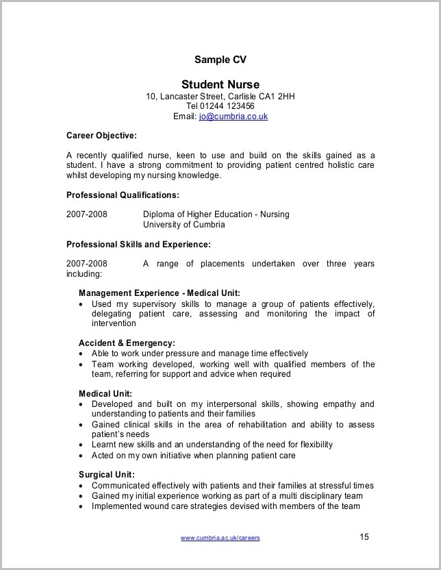 Cv Template For Student Nurses