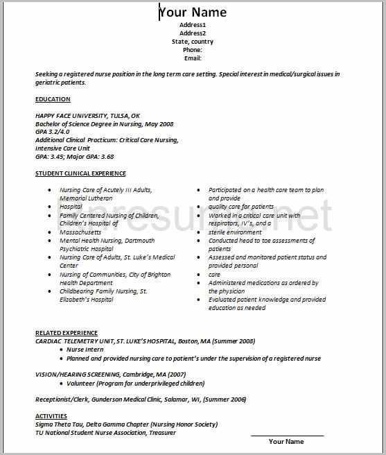 Example Resume For Nursing Graduate Without Experience