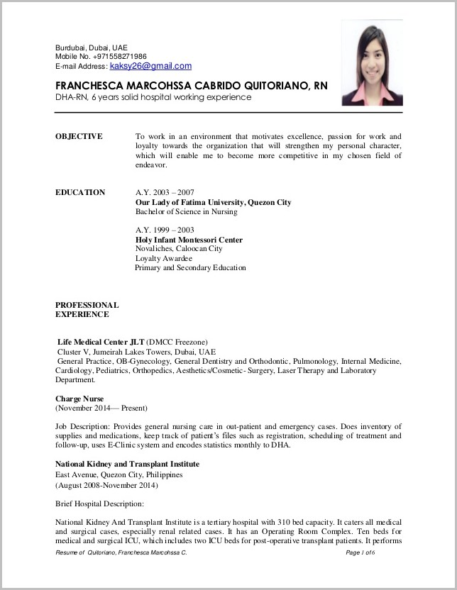 Good Resume For Nursing Job