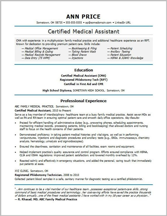 Professional Resume For A Medical Assistant