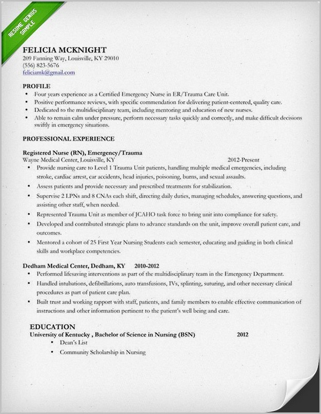 Resume Example For Staff Nurse