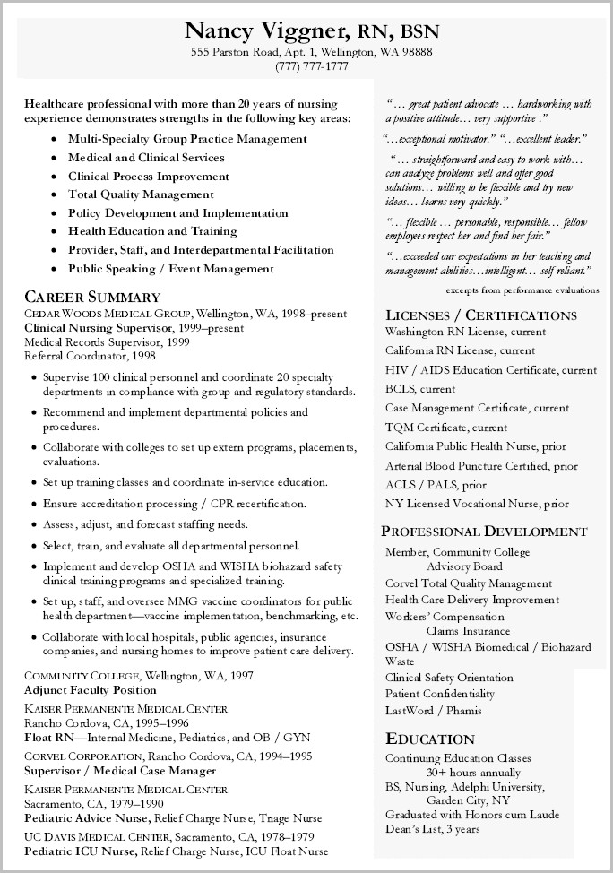 Resume Examples For Director Of Nursing