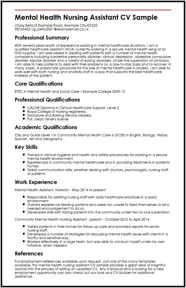 Resume Examples For Mental Health Nursing