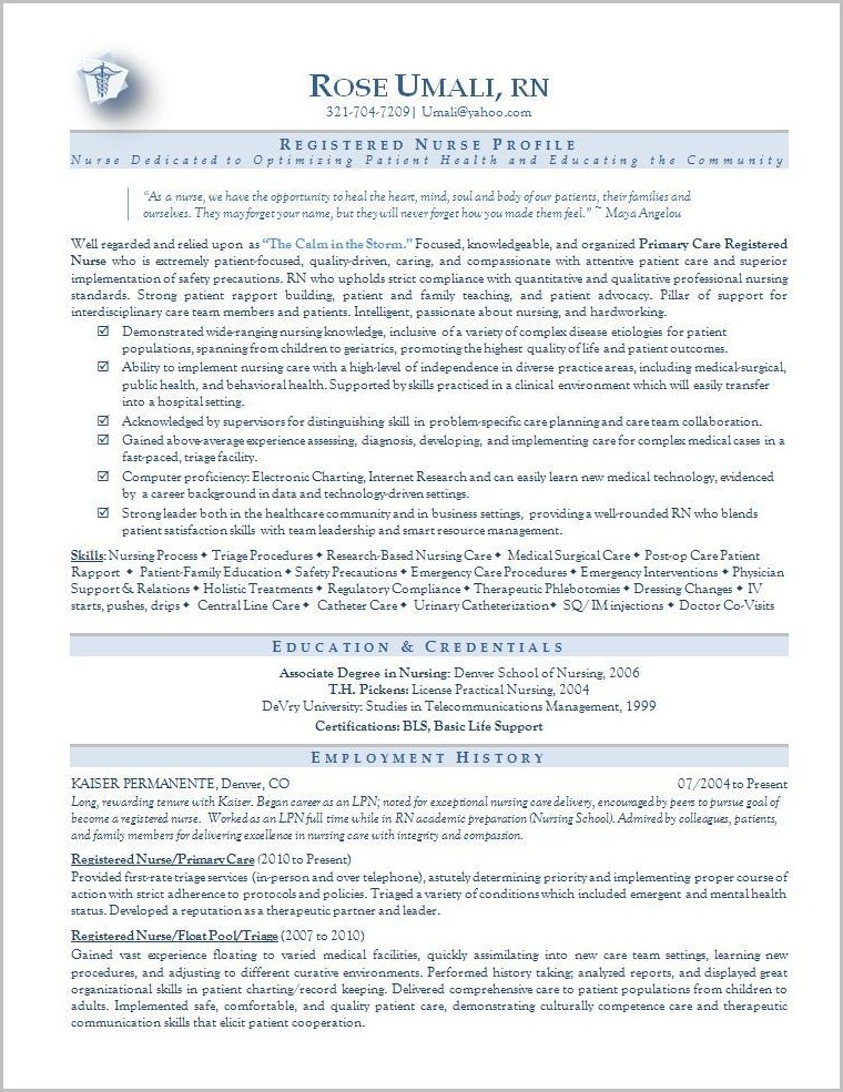 Resume Examples For Or Nurses