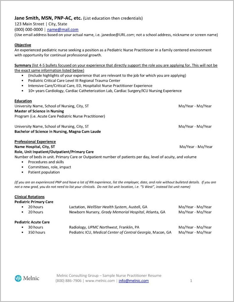 Resume Template For Nurse Practitioners