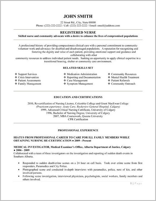 Resume Template For Nurses Free
