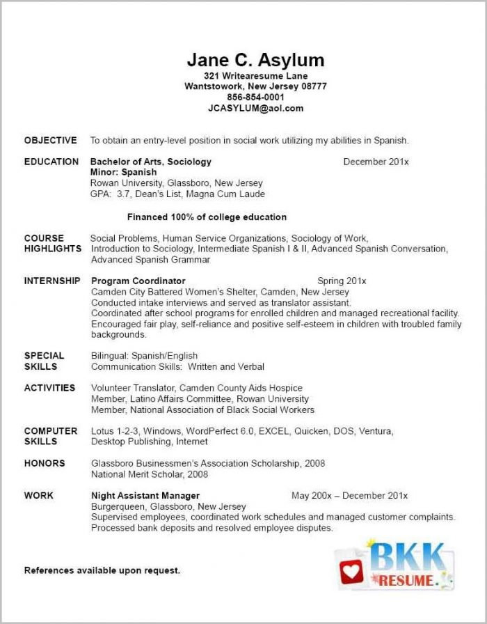 Resume Template For Nursing Graduate