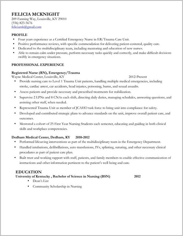 Resume Template For Student Nurse