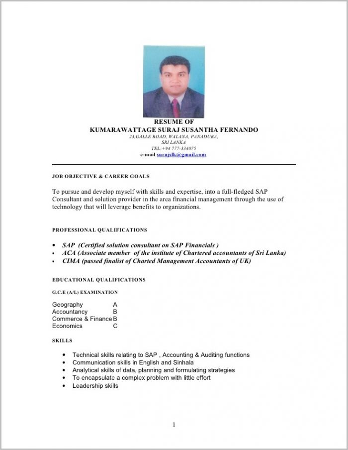 Sap Fico Fresher Resume Pdf