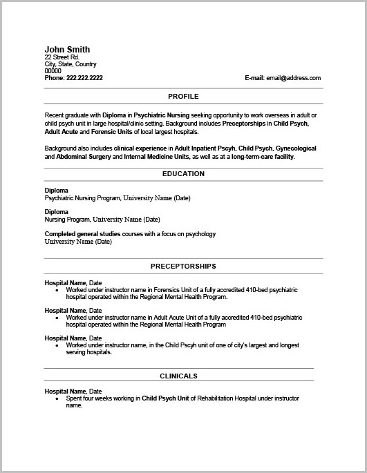 Template For Resume In Word 2010