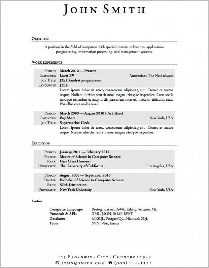 Word Resume Template For High School Student