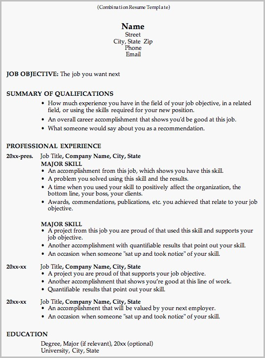 Word Template Combination Resume