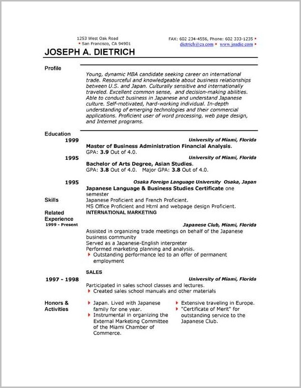 Word Template For Professional Resume