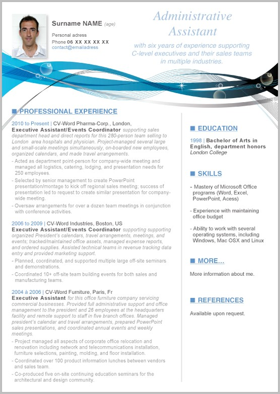 Word Template For Resume 2010